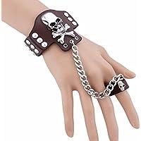 Rivet Multicolor stile punk unisex vera pelle braccialetti a bottone stile gotico Dancing Rock Set Bar Anello Unisex fascia di notte
