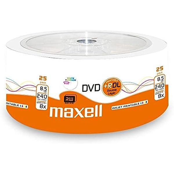Maxell 276078 Dvd R 8 5gb Dl Double Layer 8x Speed 8 5gb 25er Shrink Bedruckbar