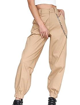 Guiran Mujer Cintura Alta Chino Pantalones Anchos Palazzo Pantalon Baggy Pantalones Harem Jogger Caqui 2XL