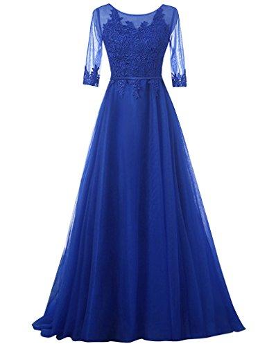 JAEDEN Femmes Demi manche Tulle Robes de bal Longue Robe de soiree Robe occasion sp¨¦ciale Bleu