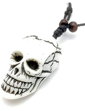 Geschnitzt Weiß Halskette Totenkopf Anhänger–Halloween–Goth–UK Lager
