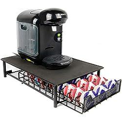 Maison & White 60 Porte Café Capsules Tassimo Nespresso Distributeur Présentoir Café Accessoires pour Machine à café Dolce Gusto | Black