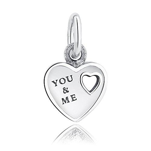 """Anhänger mit der Aufschrift """"You & Me"""" aus 925er Sterlingsilber, für Pandora-Armbänder und Armbänder im europäischen Stil geeignet - beliebtesten Artikel"""