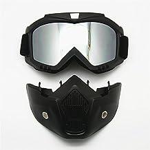 Motocicleta Gafas Máscara desmontable, Harley estilo acolchado de proteger casco gafas de sol, Road