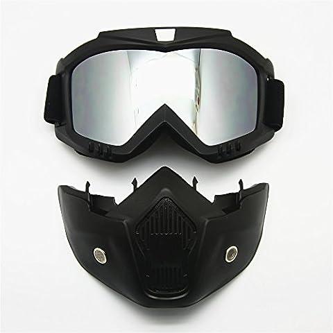 Lunettes de moto Masque amovible, Harley Style Casque de protection de rembourrage Lunettes de soleil, Route d'équitation UV Lunettes de moto, mixte femme (Mirror Lens)