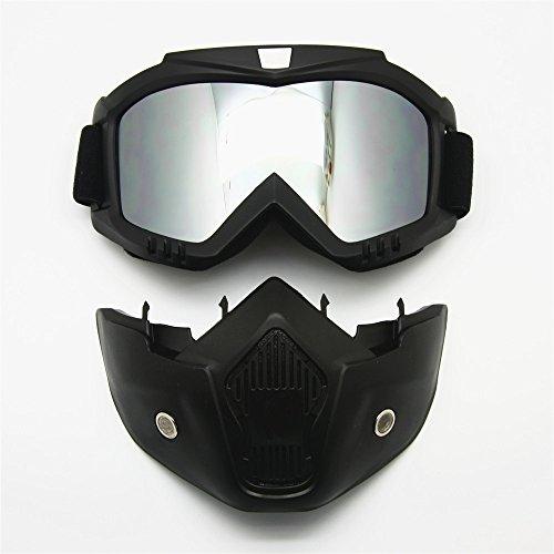 Motocicleta Gafas Máscara desmontable, Harley estilo acolchado de proteger casco gafas de...