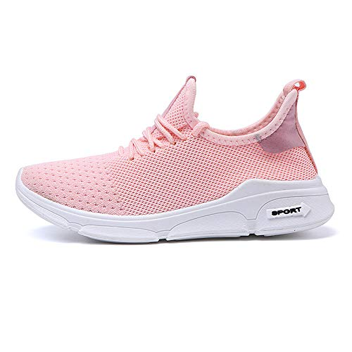 HOTSTREE New White Sneakers Breathable Mesh Casual Shoes Men Soft Sole Unisex Trainer Shoe Classic Couple Loafers Zapatillas Mujer Pink Woman 6.5