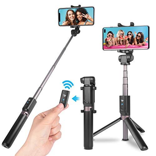 Power Theory Bluetooth Selfie Stick mit Handy Stativ und Fernauslöser - Selfiestick für iPhone 11 Pro Max XS X 8 7 6s 6, Samsung Galaxy S10 S10+ S9 S8 S7, Huawei und alle Smartphones - Selfi Tripod