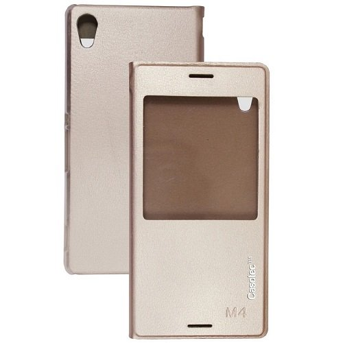 Casotec Premium Caller-id Flip Case Cover with Silicon TPU Back for Sony Xperia M4 Aqua - Gold  available at amazon for Rs.279