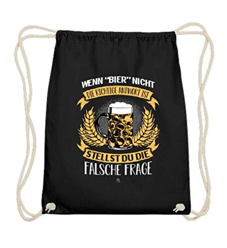EBENBLATT Lustig Biertrinker Bier Beer Bierkrug T-Shirt Saufer Saufen Party Bier brauen Geschenk - Baumwoll Gymsac -37cm-46cm-Schwarz