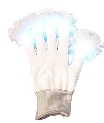 LED-Handschuhe Luminous Warmer Rainbow Handschuhe Blink Handschuh weiß Vollfinger Handschuh für Festivals, Halloween, Lagerfeuer, Night Party, (Rainbow Handschuhe Fingerlose)