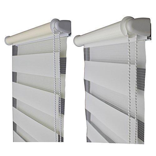 TOP MULTI Doppelrollo fertig montiert Duorollo Jalousie Klemmrollo Fenter & Türen creme oder weiß verschiedene Längen und Breiten - versandkostenfrei (D) (50cm Breite x 160cm Länge, Weiß)