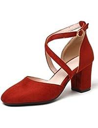 COOLCEPT Mujer Moda Correa de Tobillo Sandalias Tacon Medio Ancho Cerrado Zapatos con Fleco Tamano (33 EU,Black)