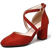 3bbf69ad52c Coolcept Mujer Moda Cruzado Correa Sandalias Cerrado Tacon Ancho Zapatos