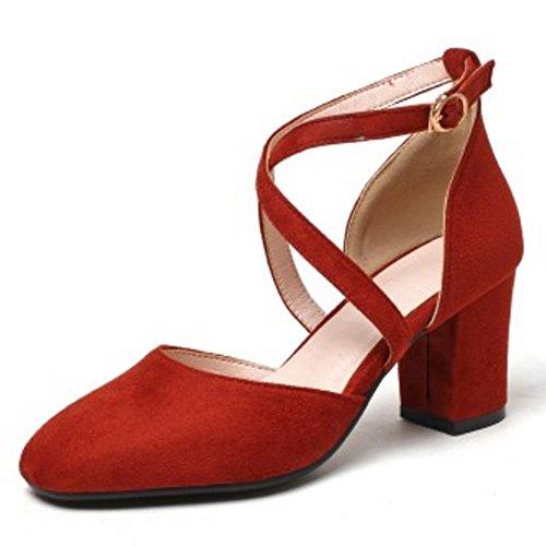 COOLCEPT Damen Mode Kreuz Sandalen Geschlossene Blockabsatz Schuhe Rot