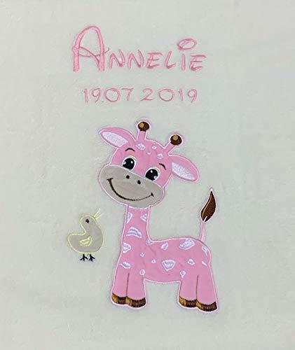 Babydecke bestickt mit Name und Geburtsdatum/kuschelig weich / 1A Qualität (Beige - GIRAFFE Rosa)