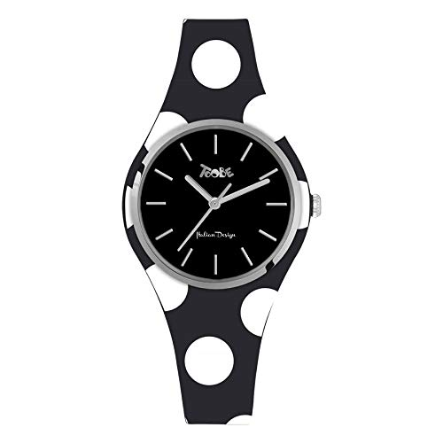 Armbanduhr Damen Silikon Hypoallergen schwarz und weißen Punkten, Ring Silver, Zifferblatt schwarz mit Kennzahlen und Zeiger Silver
