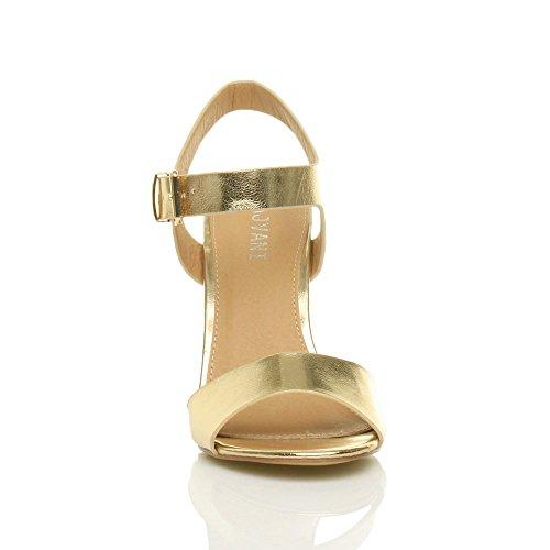 Femmes haute talon fête élégant boucle à lanières sandales chaussures pointure Or Métallique