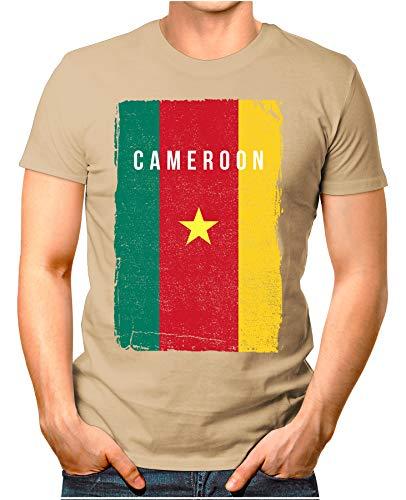 OM3® - Cameroon-Flag-Vintage - Herren T-Shirt | Kamerun Flagge Fussball Soccer Fanshirt Sport Trikot | Khaki 3XL