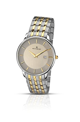 Accurist Men's Quartz Watch with Grey Dial Analogue Display and Two Tone Stainless Steel Bracelet 7048.01