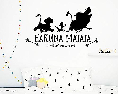 r Vinyl Aufkleber Hakuna Matata Lion King Wandtattoo für Kinderzimmer Quote Decals Schlafzimmer Dekor Wandbild G369 57 * 30 cm ()