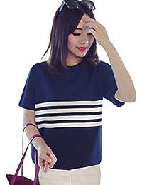 FreshTrend Plain Blue Cotton Round Neck White Stripe Printed Tshirt for Women