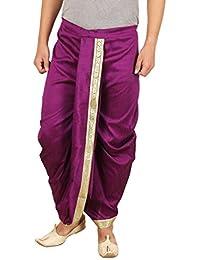 Larwa Solid Men's Silk Dhoti (Purple, Free Size)