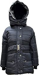 Come In Kids Girls Full Sleeve Winterwear Hooded Full Zipper,Button Closure and attached Belt Solid Black Quilted Jacket (5-6 years)