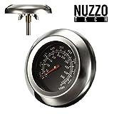 Nuzzo Tech - Barbecue Termometro Sonda Coperchio Temperatura Indicatore Forno 49mmX75mm per Grill/Smoker/Forno/Grill in Acciaio Inossidabile.