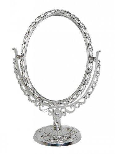 Standspiegel, oval im Antik / Romantik Look (silber) - Kosmetikspiegel