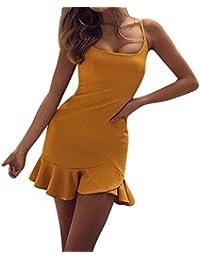 Vestidos cortos mujer, Amlaiworld Vestidos de mujer verano Mini vestido sin mangas de hombro Sexy
