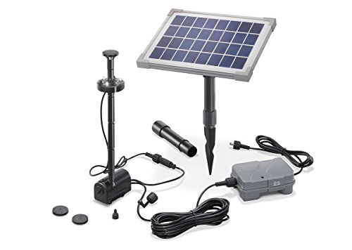 Solar Teichpumpe 5 Watt Solarmodul 160 l/h Förderleistung mit Akku und LED Beleuchtung 50 cm Förderhöhe esotec pro Komplettset Gartenteich, 101920