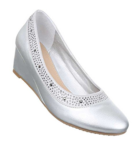 Damen Pumps Schuhe Keil High Heels Stiletto Schwarz Beige Silber Weiß 36 37 38 39 40 41 Silber