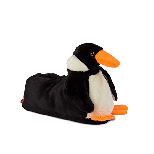 Funslippers Herren Hausschuhe Tierhausschuhe Puschen Pantoffeln Schlappen Pinguin Schwarz Plüsch Warm Gepolstert Sneakersohle Rutschfest XXL 48/50 EU