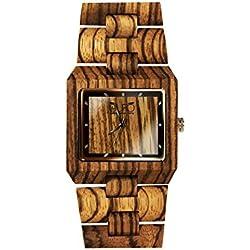 Holz Eule Uhr Denim Italien Zebra