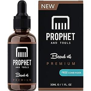 Prophet and Tools Bartöl und Bartkamm-Kit! KOSTENLOSER Bartpflege E-Book enthalten – All-in-One geruchloser Leave-In Conditioner, Weichspüler und schnellerer Bartwachs