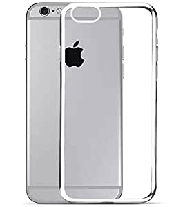 """RKA Luxury Electroplated Silicone Soft TPU Cover Case Bumper for Apple iPhone 6 6S 4.7"""" Silver"""