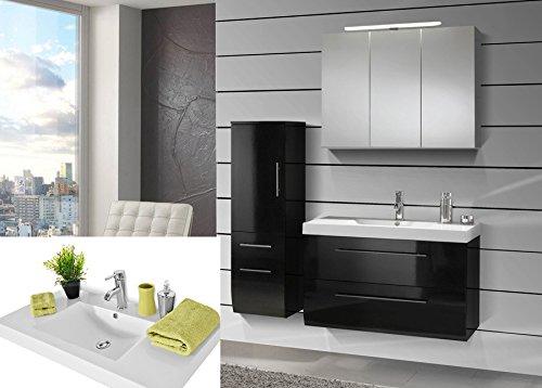 #SAM® Design Badmöbel-Set Zürich, 90 cm, in Hochglanz schwarz, 3tlg. Designer Badezimmer mit Softclose-Funktion, 1 Waschplatz mit Mineralgussbecken, 1 Spiegelschrank und 1 Hochschrank#