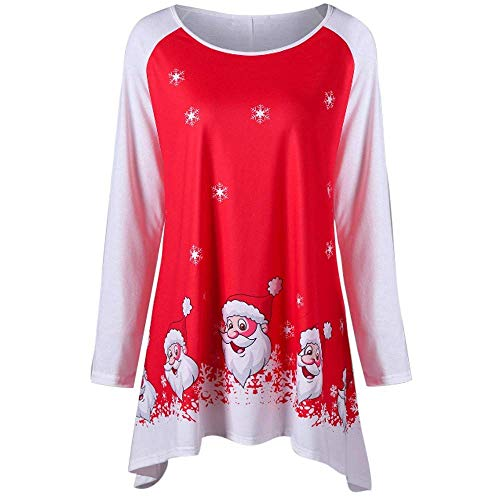 Donna merry christmas o collo manica lunga chic casual per il tempo libero babbo natale stampa top ragazza (color : rot, size : xl)