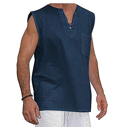 Tyoby Herren Sommer Mode Slim Casual Multicolor Baumwolle Leinen Ärmellos Revers Shirt Vintage Klassisch(Marine,XL)