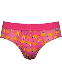 Happy Socks Men's Bananas Briefs, Pink/Yellow