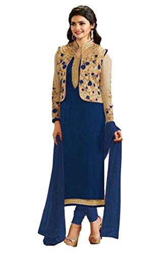Justkartit Prachi Desai Party Wear Semi-Stitched Koti (Jacket) Style Salwar Kameez 2017/ Women Casual Ocassion Wear Dress Material 2017 / Latest Embroidery Salwar Suits / Ladies Indian Ethnic Wear 2017 / Pakistani Dresses For Girls 2017
