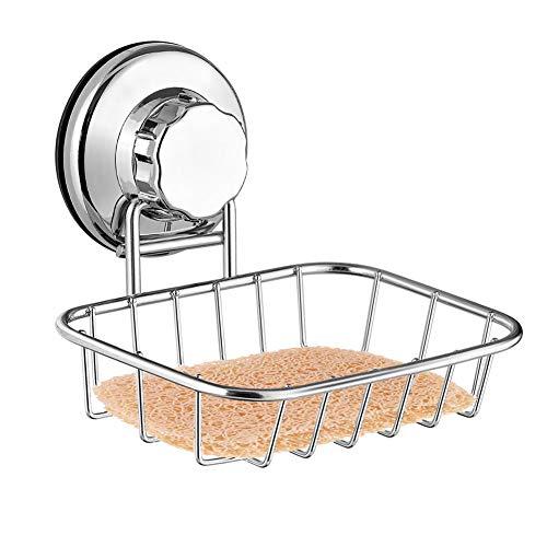 ARCCI Saugnapf-Seifenschale und Schwammhalter, Super leistungsstarker Saugnapf aus starkem Edelstahl für Dusche, Bad und Küche (Küche Seifenschale)