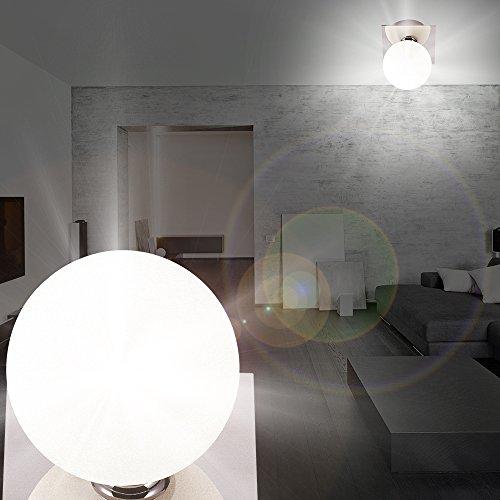 MIA Light Glas Kugel Decken Modern/Weiß/Chrom/Lampe Badezimmerlampe  Badezimmerleuchte Badlampe Badleuchte Deckenlampe Deckenleuchte