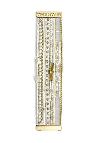 Gioielli-Bianco-Hipanema-Bracciale Bianco in Perle, uccello e chiusura dorati-Hipanema Olimpo-dimensioni: L