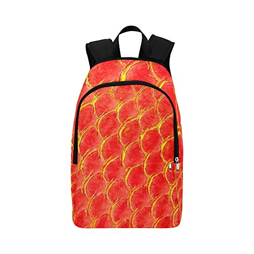 Beschaffenheits-rote Fisch-Haut Stockfoto Zufällige Daypack-Reisetasche Hochschulschulerucksack für Männer und Frauen