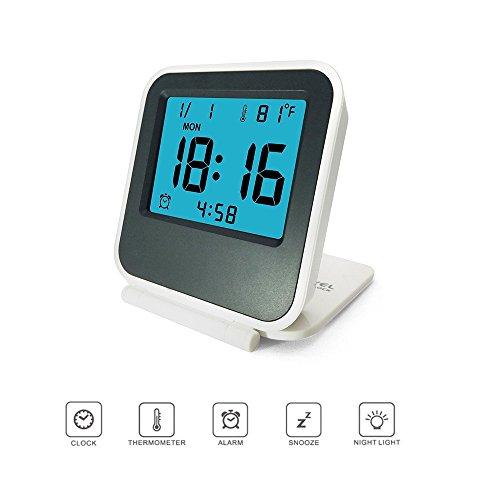 Digitalwecker Klein Reisewecker mit Nachtlicht, Tischuhr, Schlummerfunktion, LCD Temperatur/Datums Anzeige Pingenaneer - Weiß
