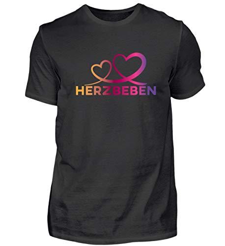 Shirtee Herzbeben - Bunte Herzen - Liebe Helene - Herren Premiumshirt -3XL-Schwarz