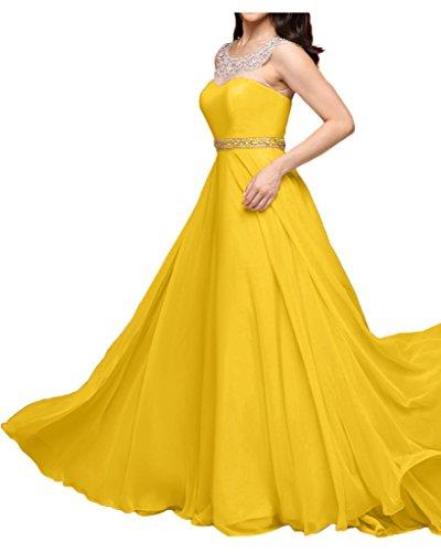 La_mia Braut Rosa Chiffon Aermellos Abendkleider Partykleider Brautjungfernkleider Bodenlang A-linie Gelb