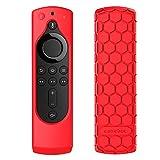 CASEBOT Hülle Fire TV Stick 4K / 4K Ultra HD Alexa-Sprachfernbedienung mit Tasten für An/Aus und Lautstärke - Leichte Rutschfeste Stoßfeste Silikon Schutzhülle, Rot